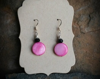 Pink and Black Shell Sterling Silver Earrings, Pink Shell Earrings, Black Shell Sterling Silver Earrings