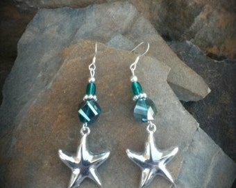 Silver Sea Green Starfish Sterling Silver Earrings, Green Starfish Earrings, Starfish Sterling SIlver Earrings