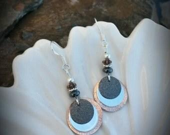 Copper Black and Sterling Silver Earrings, Silver Disk Copper Black Earrings, Glittery Copper Silver Black Earrings