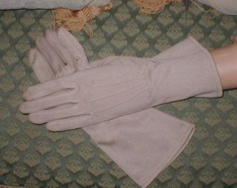 Vintage TAUPE Cotton Dress Gloves