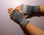 Fingerless Gloves - Grey and White Mix Hand Knit Fingerless Gloves