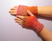 Fingerless Gloves - Pink and Orange Mix Hand Knit Fingerless Gloves