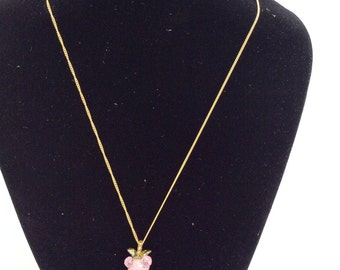 CLEARANCE vintage pink grape necklace gold tone chain pink gemstone grape cluster