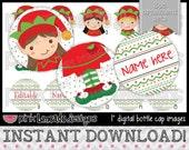"""Editable Elf Ornaments - INSTANT DOWNLOAD 1"""" Bottle Cap Images 4x6 - 548"""