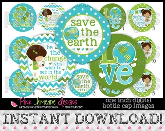 "Save the Earth - INSTANT DOWNLOAD 1"" Bottle Cap Images 4x6 - 778"