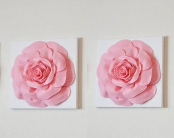 "Two Wall Hangings -Light Pink Roses on White 12 x12"" Canvases Wall Art- Baby Nursery Wall Decor-"
