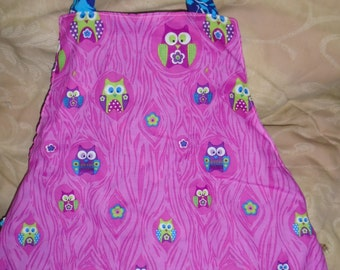 Child's Apron, pink owl Montessori style reversible apron for children