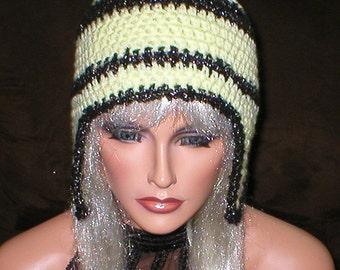 Crochet Women Teens Yellow Black Metallic Pom Pom Ear Flap Hat Snowboard Hat