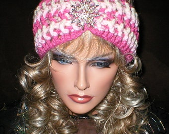 Crochet Womens Vintage Style Reproduction Rhinestones Brooch Head Wrap Turban Ear Warmer