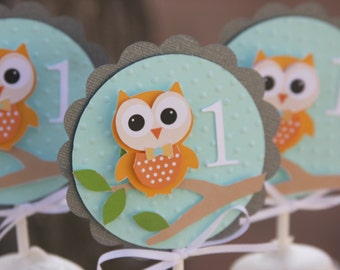 owl cupcake topper, owl cupcake picks, owl party decorations, owl party decor, owl picks, baby owl cupcake topper, first birthday