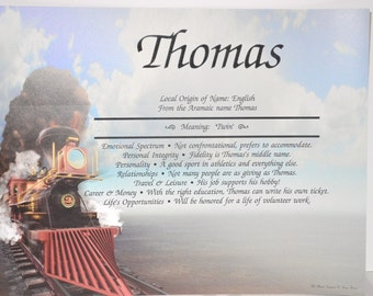 CHILDS PERSONALIZED GIFT Train Child's First Name Meaning Iron Horse  Print Gift  8.5 X 11 ships Free in 24 hrs