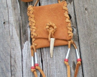Leather amulet bag with antler tip closure , Leather necklace bag , Medicine pouch , Shamans bag , Necklace bag