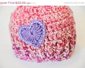 CLEARANCE Crochet Kids Beanie, Valentines Heart Crochet Hat, Crochet Kids Hat, Crochet Heart Beanie, Kids Heart Beanie, Pink Crochet Hat