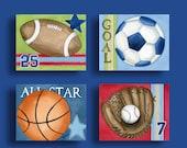 Boy sports nursery art, sports artwork, children wall art decor, Baseball Football Basketball Soccer art prints, kids art, Boys Sports Art