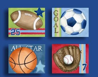 sports art prints, boys sports decor, boy sports prints, sports nursery art, Baseball Football Basketball Soccer art print