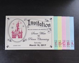Vintage Disney inspired E Ticket Wedding Invitation Booklet