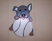 Handmade custom wooden dog and baseball wall plaque
