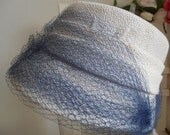for sale 2 Italian vintage women hats  blue and white and blue with bow and veil 1950s