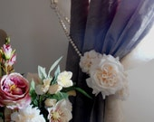 """35.43"""" Silk rose and dahlia flowers decorative curtain tieback faux pearls, drapery holder - tie back curtain"""