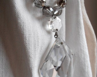 Silver beads glass drop drapery holder, tie back, curtain holder