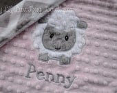 Personalized baby blanket minky-baby pink and silver/white chevron lamb- lovey blanket