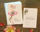 Bridal Shower Invitation, Blush Wedding, Art Deco Bridal Shower Invitation, Vintage Style Invitation, Art Deco Bride, Vintage Bride