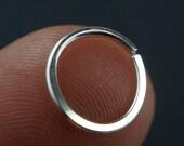 Septum Ring / Septum Jewelry /  Nose Ring / Cartilage Hoop / 18 Gauge Sterling Silver / Argentium