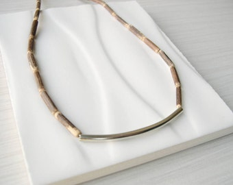 Modern Wood Necklace - Nickel Free Jewelry, Rustic Chic, Sterling Silver, 5th Anniversary Gift, Brown, Earthy, Contemporary, Neutral