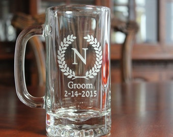Set of 8 Engraved Beer Mugs,  Groomsman Gifts, Groomsmen Beer Mugs, Beer Glasses, Beer Glass, Personalized Beer Mug, Engraved Beer Glass