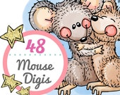 Mouse Digital Stamps on CD, Meljen's Designs 48 B&W Digi Collection, Scrapbooking, Card Making, Handmade Crafts - LIMITED SUPPLY