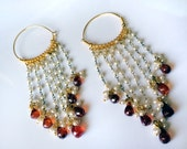 Pearl Hoop earrings,Austrian crystal hoop earrings,Chandelier,Gold Hoops,handmade by Taneesi Jewelry