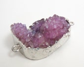 Druzy Bracelet Connector - Purple Crystal Agate Pendant - Double Bail Link - Rough Surface - Silver Edged Dipped - Diy Jewelry Supplies