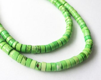 Green Heishi Disc Beads, Small Apple Green Gemstone Disk Round Beads, 4mmx2mm, Beads For Jewelry Projects