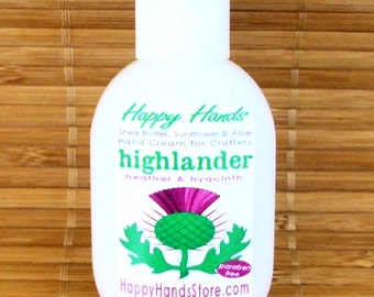 Highlander Heather & Hyacinth Scented Hand Cream for Knitters - 1oz Refillable Tottle HAPPY HANDS Shea Butter Hand Lotion - Outlander Series