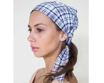 Easy Tie 100% Cotton Pre-Tied Everyday Headscarf in Blue Plaid