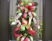 Christmas Wreath, Christmas Swag, Ribbon Swag, Cascade, Christmas Wishes, Christmas Teardrop