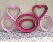 Frame Collection Pink Nursery Girl Hearts Set