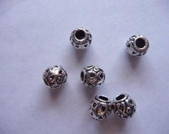 Bead, Antiqued, Silver Finished, Pewter, Zinc Based Alloy, 8x8mm, Barrel, 3mm hole, Pkg Of 8