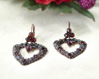 Bavarian garnet heart earrings Sterling Silver rosegoldplated || ГРАНАТ
