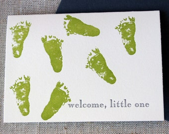 Letterpressed 'Welcome, Little One' New Baby Card