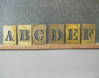 Vintage Brass Stencils, Complete set, Alphabet, large