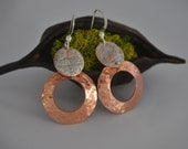 Handcrafted, Hammered Hoop Earrings, Copper and Sterling Silver Dangle, Jewelry Girfts