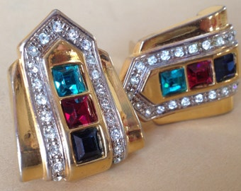 Retro Styling Pave Rhinestone Buckle Earrings – Big 1980s Clips
