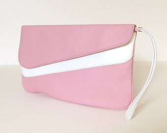 80s clutch purse / 80s dusty rose pink & white wristlet clutch bag / 80s envelope clutch / 80s vintage pink clutch / Cabrelli