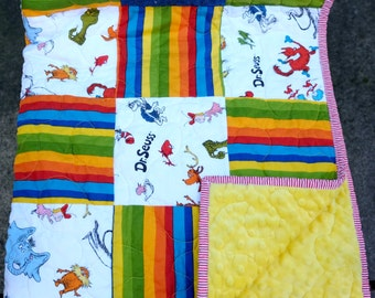 "Dr. Seuss Quilt - Cat in the Hat Tossed Characters Blocks, Yellow Dimple Minky Back, 41"" X 36"""