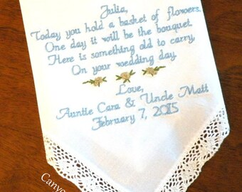 Flower Girl Gift Embroidered Wedding Hankerchief Gift for your Flower Girl Personalized Wedding Gift for your Flower Girl Canyon Embroidery
