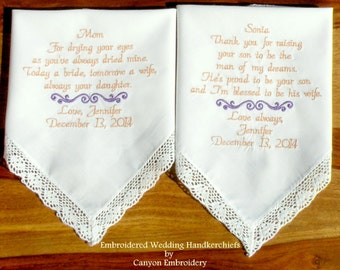 Embroidered Wedding Hankerchief s Wedding Gift Mother of the Bride & Mother In Law by Canyon Embroidery