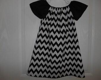 Girls peasant dress black chevron flutter sleeves or elastic sleeves choose of color for sleeves  infant thru 6 years