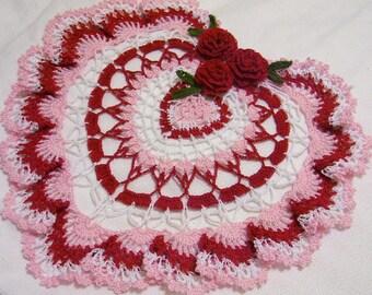 Mother's day heart crocheted doily gift home decor handmade in USA original design
