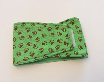 Waterproof, Absorbent, Reusable Belly Bands for Dogs - Dog Diapers - Green with Brown Paw Prints - Available in all sizes